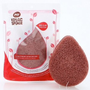 All Natural Fiber Volcanic Scoria Facial Sponge (Red Clay)